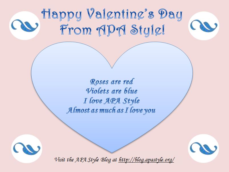 APA Style Valentineu0027s Day Card