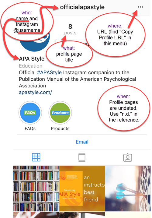 Instagram profile page annotated to show APA Style elements
